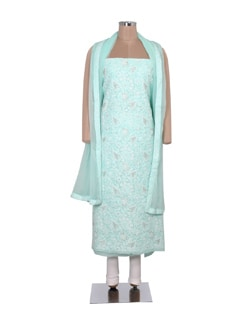 Mint Green Chikankari Dress Material - Ada