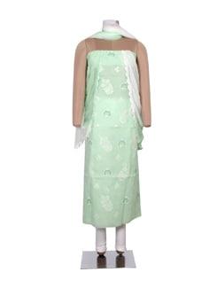 Green And White Chikankari Dress Material - Ada
