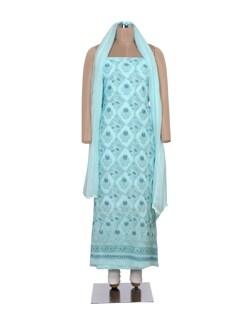 Floral Blue Chikankari Dress Material - Ada