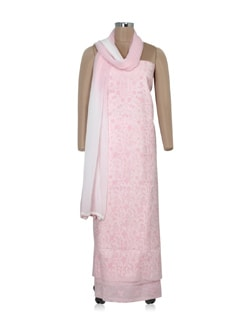 light pink and white chikankari dress material - Ada