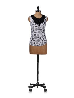 Printed Black And White Frill Neck Top - Kaxiaa