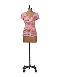 Red Printed Ruffled Shirt - Kaxiaa