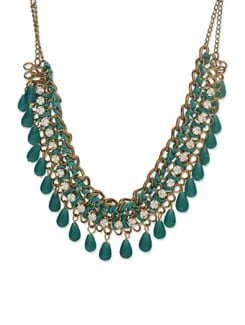 Elegant Green Gold Chain Necklace - Art Mannia