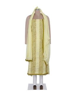 Lemon Yellow & Green Chikankari Suit Piece Set - Ada