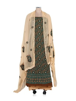 Brown Embroidered Unstitched Suit With Contrast Dupatta And Salwar - Ada