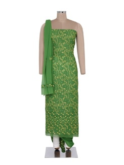 Green Embroidered Unstitched Suit - Ada