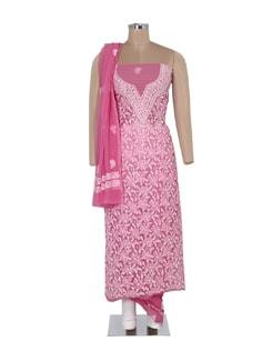 Pink And White Chikankari Suit Piece Set - Ada