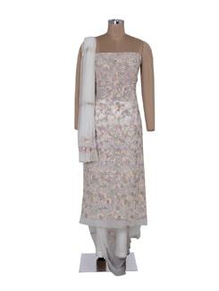 White Floral Chikankari Suit Piece Set - Ada
