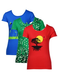 Sassy graphic print tees- pack of 3 - STYLE QUOTIENT BY NOI