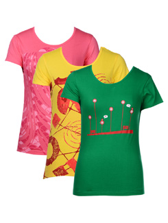 Graphic Print Tees- Pack Of 3 - STYLE QUOTIENT BY NOI