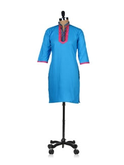 Fancy Turquoise Blue Kurta - ABHISHTI