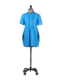 Turquoise Blue Pleated Tunic - ABHISHTI