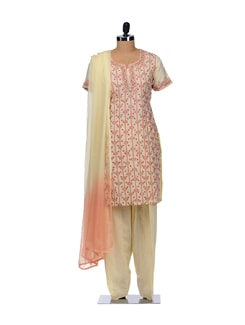 Cream Embroidered Floral Suit - Vedanta