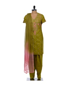 Mehendi Green And Pink Embroidered Suit - Vedanta