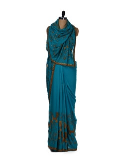Teal Blue And Gold Saree - Aas