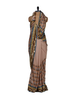 Beige Multi Sequin Embroidered Saree - Aas