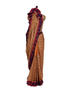 Dull Orange And Gold Saree - Aas