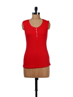 Red Lace Trim Tank Top - Evolution