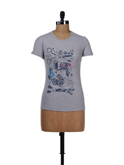 Quirky Prints- Grey Top - Evolution