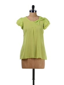 Trendy Lime Green Bow Top - Aamod