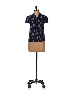 Navy Blue Bird Print Top - Aamod
