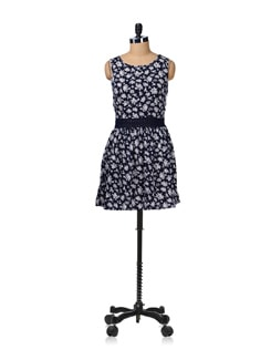Navy Flower Power Dress - Aamod