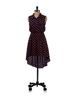 Trendy Navy Blue Polka Dress - Aamod