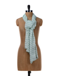 Mint Green Striped Stole - Femella