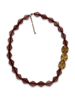 Gold And Brown Bead Necklace - THE PARI