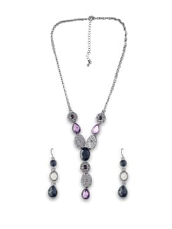 Black And Mauve Crystal Bead Set - THE PARI