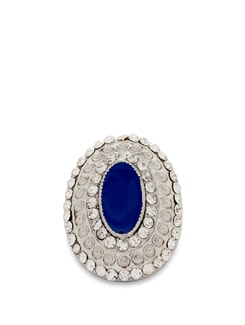 Silver And Blue Statement Ring - THE PARI
