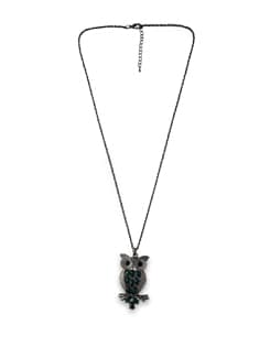 Owl Pendant Silver Necklace - THE PARI