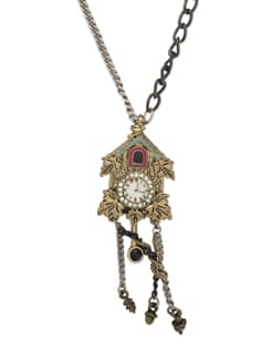 Multicoloured Clock Pendant Necklace - THE PARI