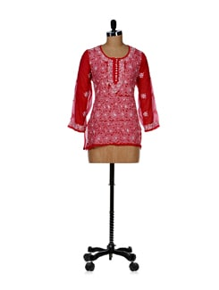 Red Floral Embroidered Kurti - Vandeymatram