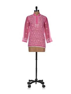 Elegant Light Pink Embroidered Kurti - Vandeymatram