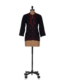 Classic Black & Red Embroidered Kurti - Vandeymatram