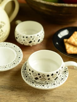 Diamond Pattern Cup And Saucer- Set Of 6 - Clay Craft