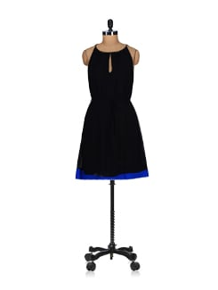 Embellished Blue-black Sundress - Tops And Tunics