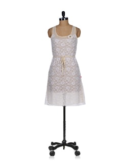 White Lace Sheath Dress - Tops And Tunics