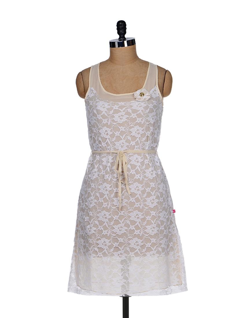 White Lace Sheath Dress - Tops And Tunics