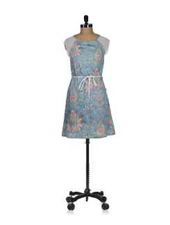 Aquamarine Printed Sheath Dress - Tops And Tunics