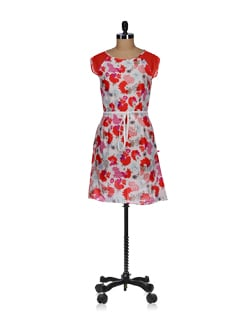 Red And White Floral Sheath Dress - Tops And Tunics
