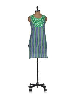 Elegant Green Printed Kurta - Tops And Tunics
