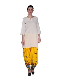 Sunshine Yellow Embroidered Patiala Salwar - Home Of Impression