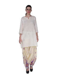 Classic Cream Embroidered Patiala Salwar - Home Of Impression