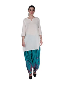 Turquoise Blue Embroidered Patiala Salwar - Home Of Impression