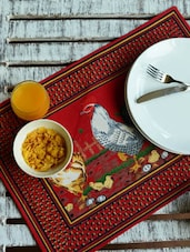 Trail Of Chickens Print Placemats- Set Of 6 - Morning Blossom