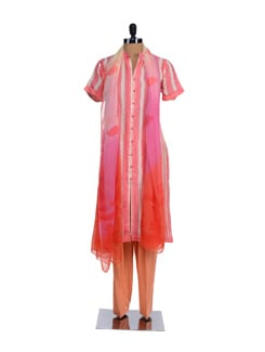 Pink And Orange Open Front Kurta With Salwar And Dupatta - KILOL