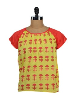 Lime Yellow & Orange Printed Top - NUN
