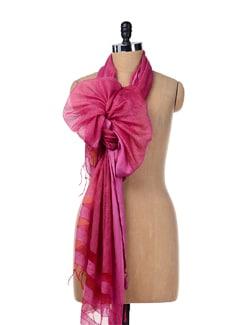 Bright Pink Silk Dupatta - SONJATO SEN